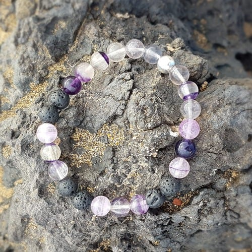 Fluorite essential oil mood enhancing bracelet