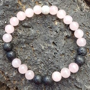 Rose quartz essential oil mood enhancing bracelet