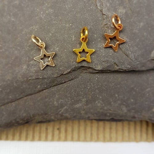 sterling silver rose plated yellow plated mini open star charm
