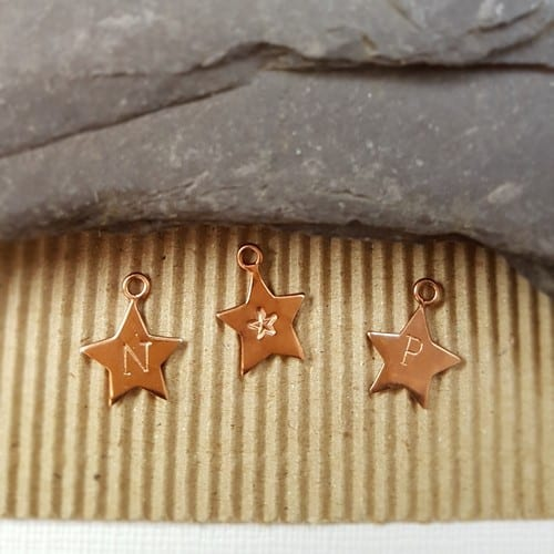 rose gold plated hand stamped initial star charms