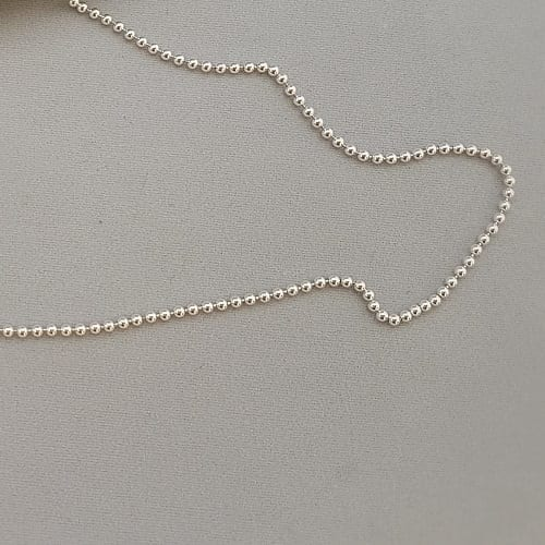 "sterling silver 2mm ball chain 16"" to 18"""