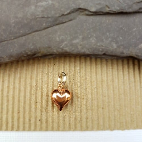 rose plated puff heart charm