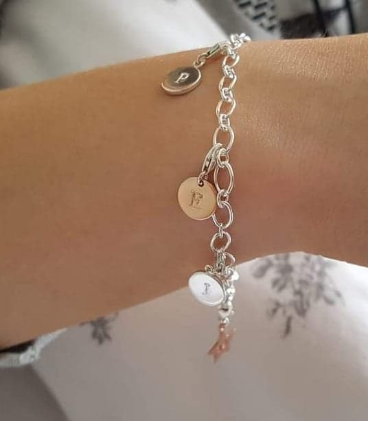 sterling silver 925 charm bracelet and hand stamped initial charm