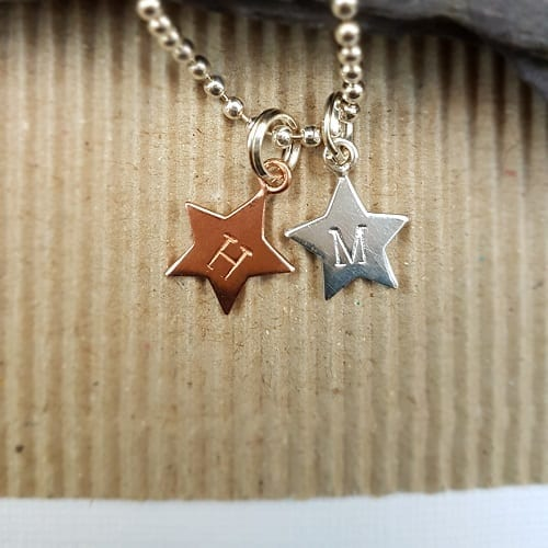 sterling silver signature necklace with hand stamped initial star charms
