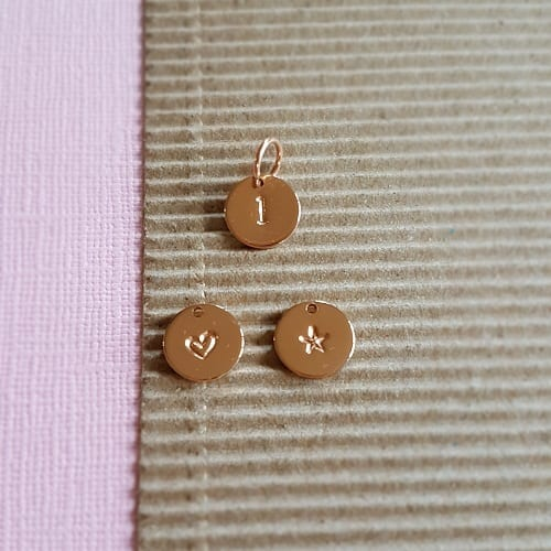 hand stamped rose gold plated 9mm tag charm
