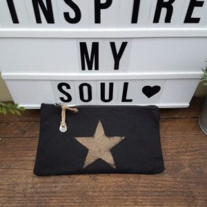 hand painted metallic star cotton zipper bag
