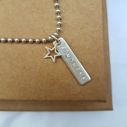 hand stamped sterling silver word or name bar charm