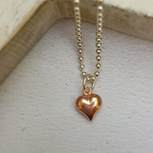 rose gold plated puff heart chart
