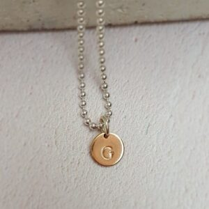rose gold plated hand stamped initial disc charm