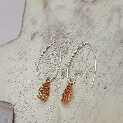 sterling silver rose plated hamsa hand oval wire earrings