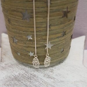 sterling silver hamsa hand long box chain threader earrings