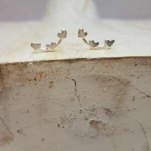 sterling silver heart trio stud earrings