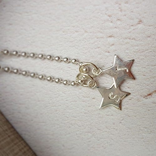 sterling silver hand stamped initial star charms