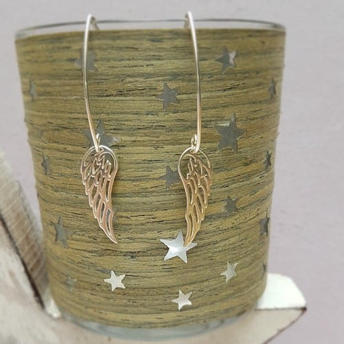 sterling silver angel wing oval wire earrings