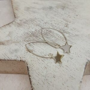 sterling silver star oval wire earrings