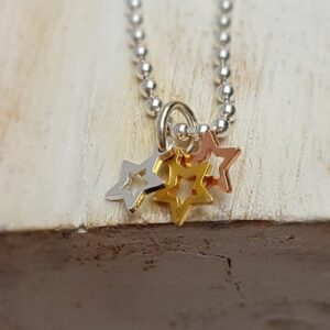 sterling silver rose plate yellow plate mini star trio charm