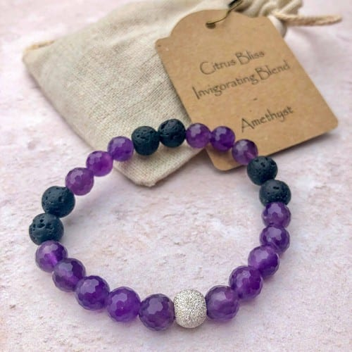 amethyst essential oil bracelet with lava beads and a sterling silver bead