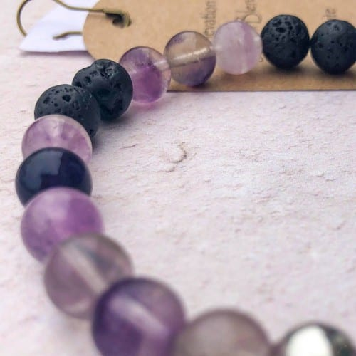 fluorite essential oil bracelet with lava beads and a sterling silver bead