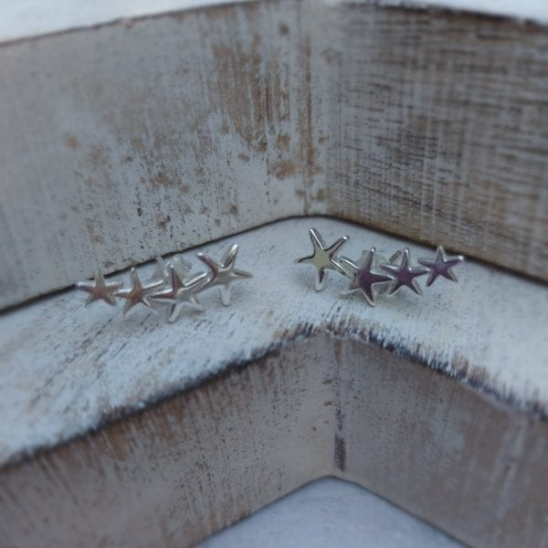 sterling silver star climber stud earring