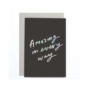 mini greeting card with positive foiled slogan